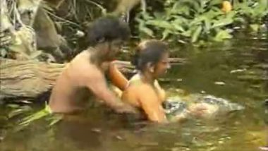 Outdoor river bath and sex with aunty