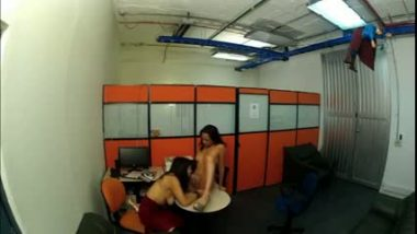 Desi sex mms of lesbian girls office sex captured by hidden cam