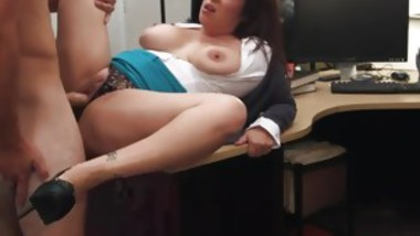 Hot girl big tits solo and cumshot in shop xxx MILF sells her