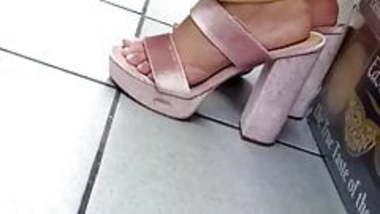 Candid indian high heels feet