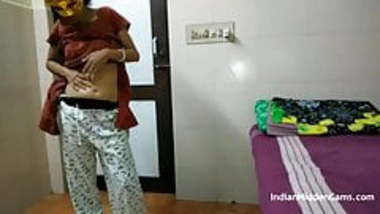 Indian Bhabhi In Brown Shalwar Suit Changing In Bedroom