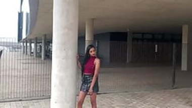 Indian teen shows her body in leather skirt and high heels